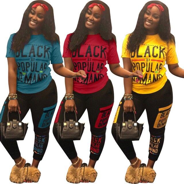 ドロップ無料ストリートレタープリントトラックスーツ 2 ピース衣装カジュアル tシャツ + ジョギングパンツプラスサイズのトラックスーツセット 2019 ホット