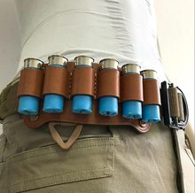 6 Round Leather Tactical Hunting Ammo Bullet Holster Shotgun Shell Holder Cartridge Belt Canvas Genuine Magazine Pouch