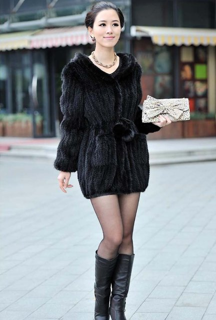 100% EUROPEAN MINK FUR KNITTED LONG COAT WITH HOOD/ REAL MINK FUR JACKET* FREE SHIPPING*BE1249 2