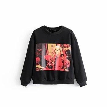 New Fashion Black Cool Printing Ropa Mujer Sweatshirt Long Sleeves Streetwear Casual Tops
