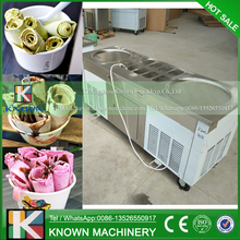 The R404A / R410A Refrigerant fried ice cream roll machine with 2 big pans and 10 food tanks