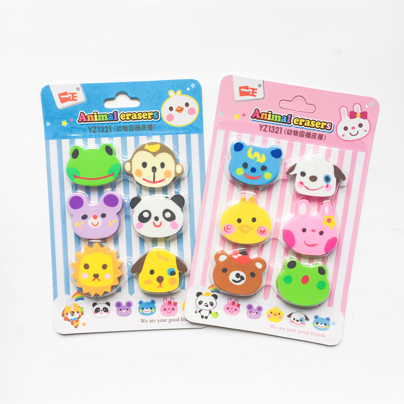 6pcs/Set Zoo Animals Rubber Erasers Drawing Writing Correction School Office Supply Kid Student Stationery
