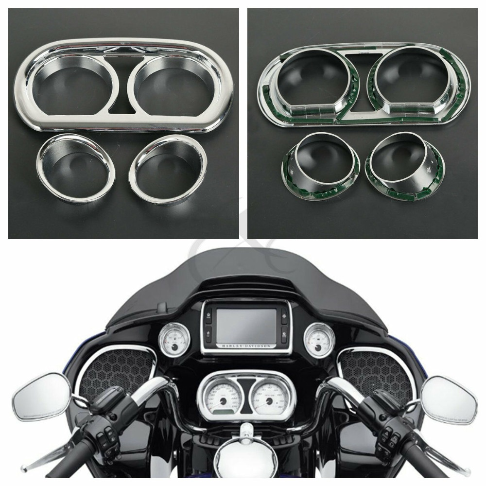 Chrome Gauge Bezel Trim Kit Fit For Harley Road Glide FLTRX Ultra FLTRUSE Special FLTRXS 15 18 in Covers Ornamental Mouldings from Automobiles Motorcycles