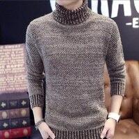 Мужские зимние толстые теплые кашемировые свитера, осенние мужские вязаные Брендовые повседневные свитера с высоким воротом, облегающий п...