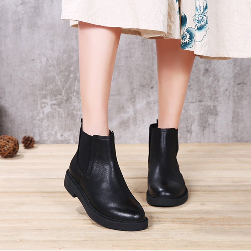 2018 VALLU Women Shoes Leather Boots Elastic Round Toes Natural Leather Square Heels Woman Ankle Boots