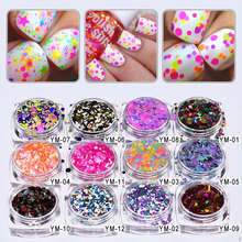 YM-01-12-A  12Boxes/Lot 1mm 2mm 3mm 12pcs Candy Colors Nail Art Glitter Sequins Set Mixed Colorized Round DIY Decora