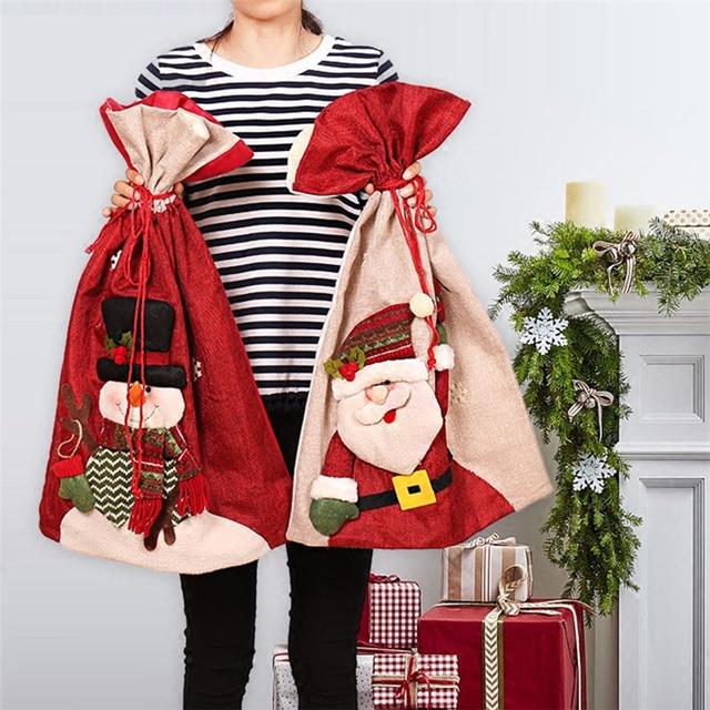57cm big size santa sacks christmas bag santa claus bags christmas gifts new year candy gift - Big Christmas Gifts