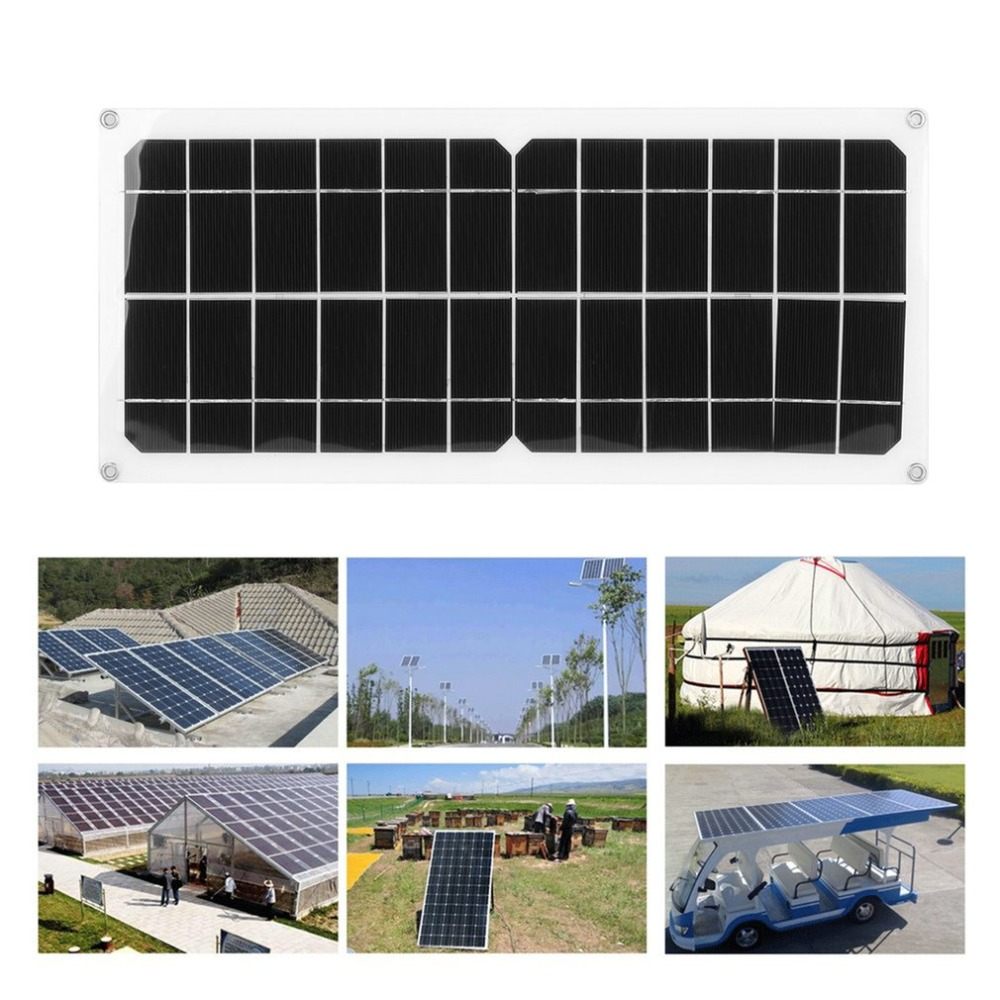 (Ship From DE)10W Monocrystalline Solar Power System Module Flexible Solar Panel Outdoor Charging Device For Off Grid RV Boat xinpuguang solar panel 6v 40w monocrystalline photovoltaic panels 40 watt 6 66a dc charging for rv car boat outdoor travel