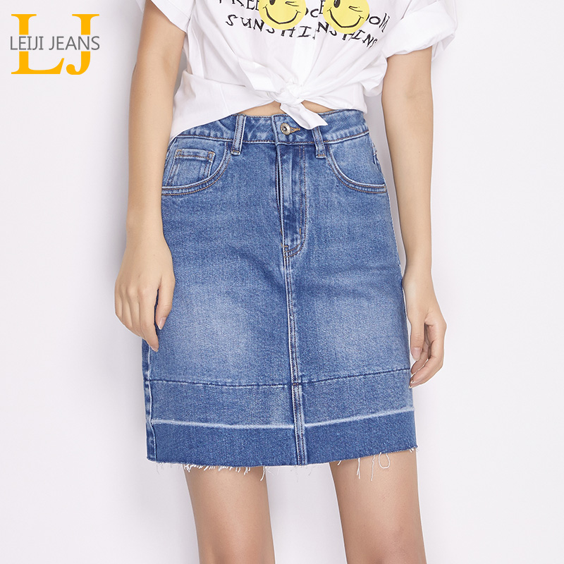 LEIJIJEANS 2018 New arrival spring and summer models mini a-line mid waist two color patchwork women denim skirt plus size 6434
