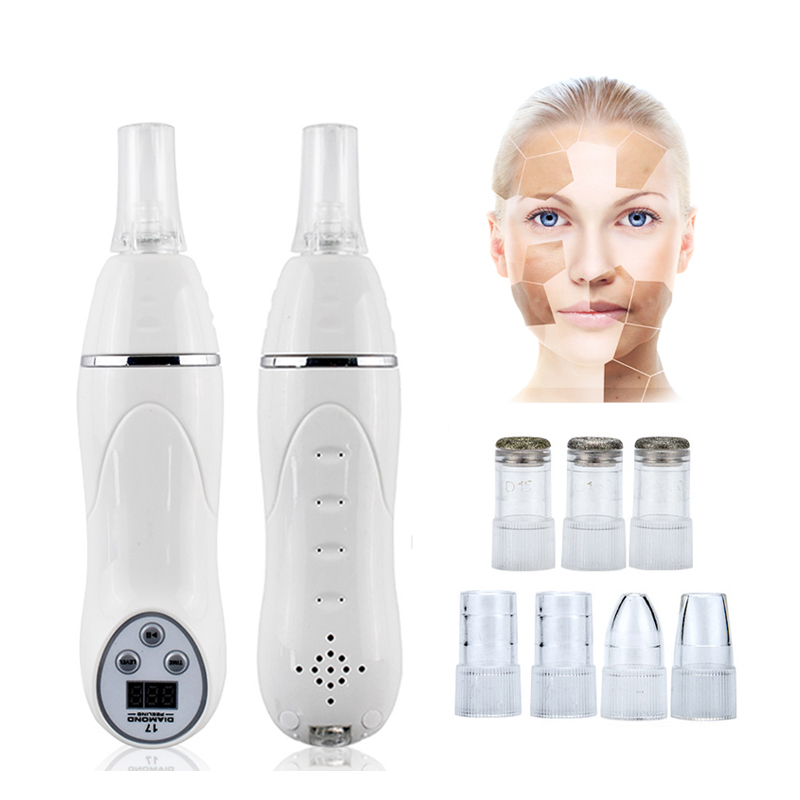 7 Tips Facial Pore Cleaner Vacuum Blackhead Acne Remover Machine Diamond Micro Dermabrasion Skin Peeling Cleaning Equipment