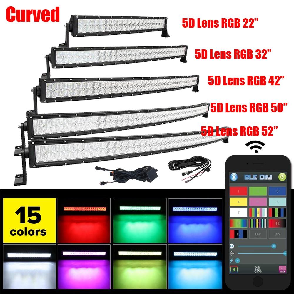 """""""22"""""""" 32"""""""" 42"""""""" 50"""""""" 52"""""""" дюймовый LED прямой/изогнутые свет работы бар комбо Луч 5Д RGB Строб вспышки многоцветный изменить музыку по Bluetooth """""""