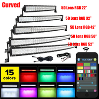 22 32 42 50 52 Inch LED Straight Curved Work Light Bar Combo Beam 5D RGB