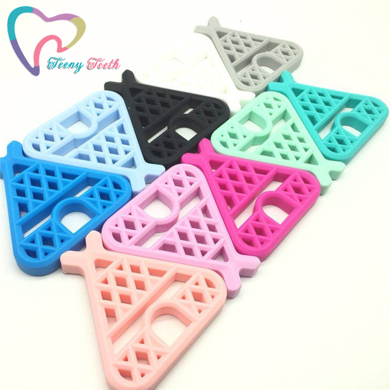 10 PCS Candy Colors Teepee Silicone Teethers Baby Teething Pendant Soft Chewable Silicone Safe Woodland Theme