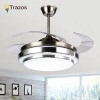 TRAZOS מודרני LED 42 אינץ Invisible נשלף קריסטל תקרת אוהדי עם אורות שינה מתקפל מנורת מאוורר תקרת שלט רחוק|מאווררי תקרה|פנסים ותאורה -