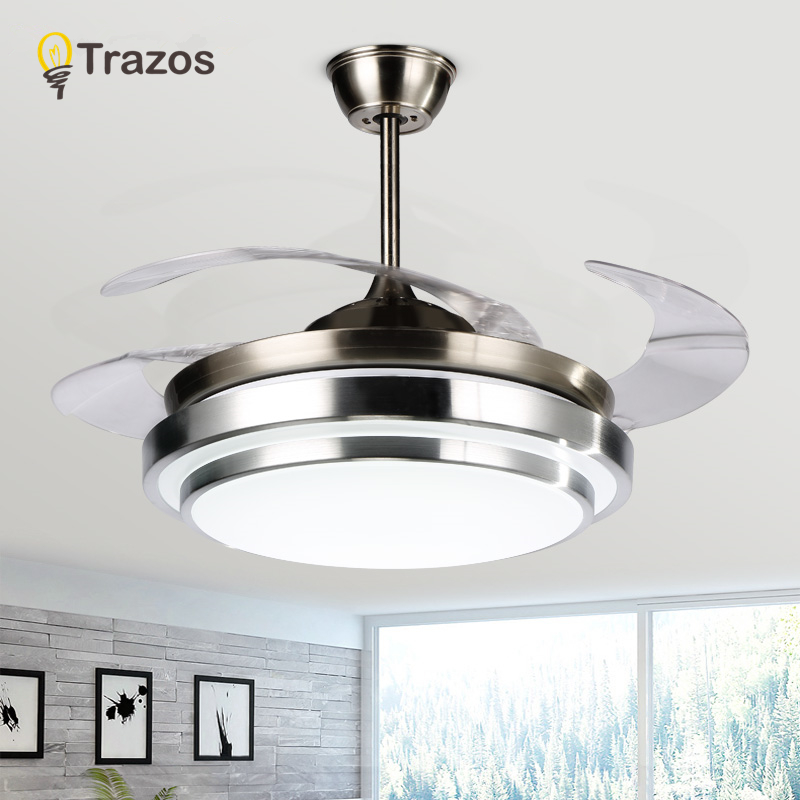 Us 190 26 27 Off Trazos Modern Led 42 Inch Invisible Retractable Crystal Ceiling Fans With Lights Bedroom Folding Fan Lamp Remote Control In