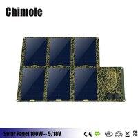 100 w 130 w 160 w plegable panel solar sunpower cargador solar 5 v 4-usb con tecnología isolar + 18 v de salida de cc) para smartphones portátiles