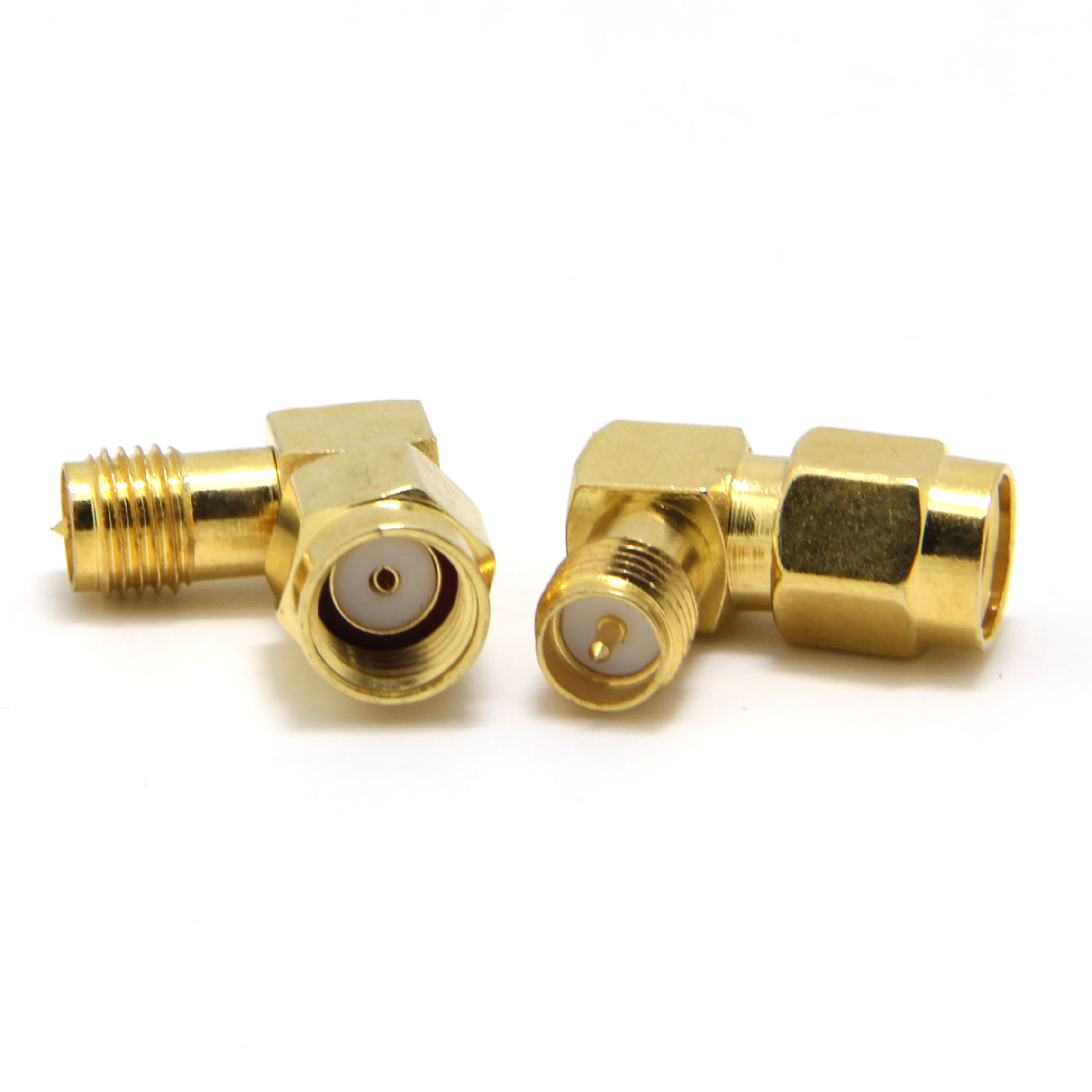 2-PACK Right Angle RP-SMA Reverse Polarity Female to SMA Male Gold Adapter