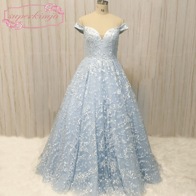 SuperKimJo Off the Shoulder Prom Dresses 2018 A Line Lace Blue Beaded Prom  Gown Formal Dresses Vestidos De Festa f8124a550cb1