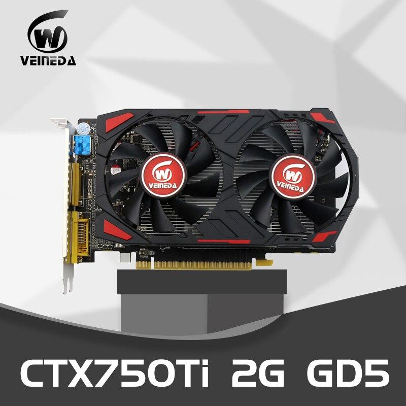VEINEDA GTX 750 Ti 2G GDDR5 128 bits cartes graphiques pc de bureau PCI Express 3.0 cartes graphiques vidéo pour jeux nVIDIA Geforce
