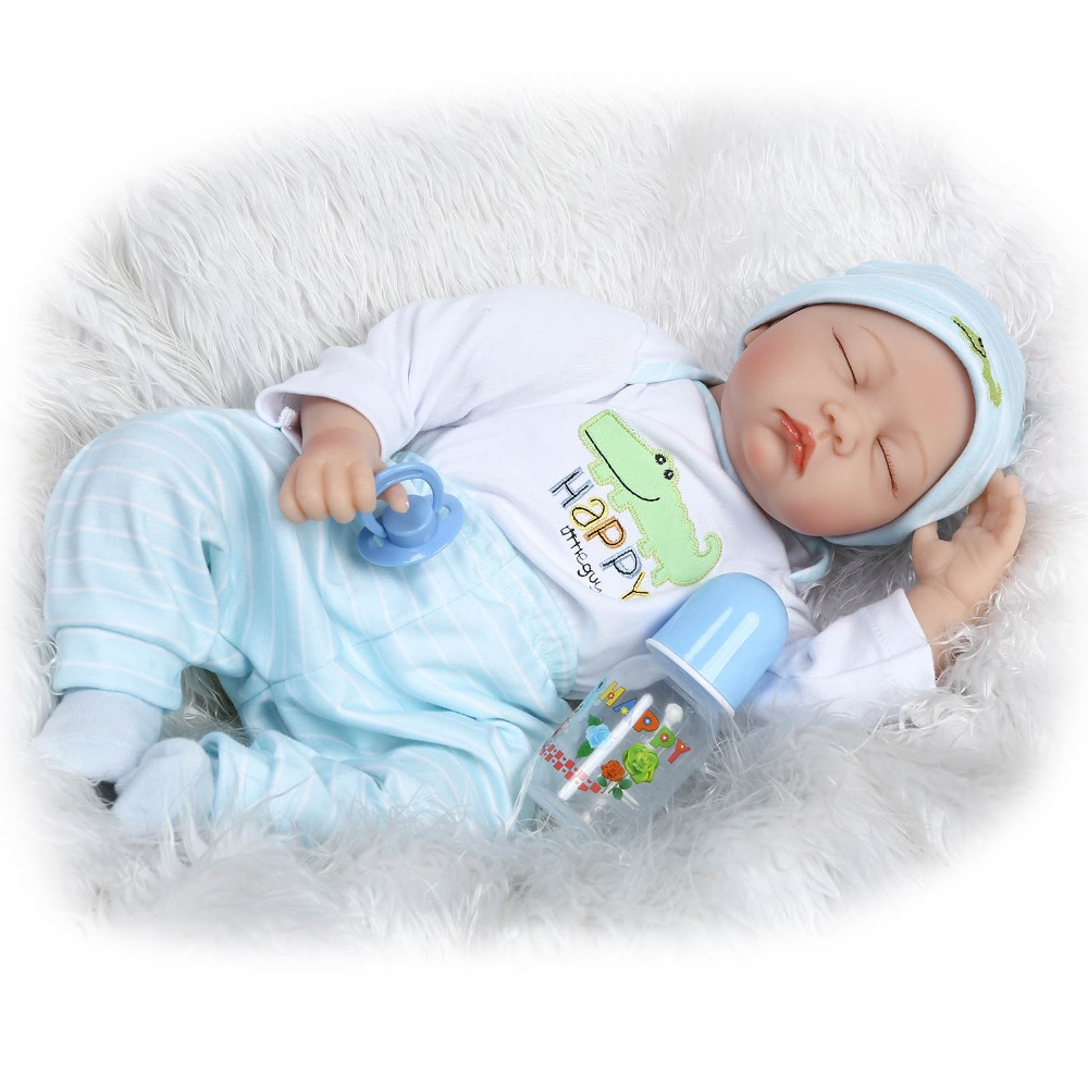 22inch silicone vinyl real soft touch reborn baby 55CM with no hair baby doll sleeping baby  doll very cute