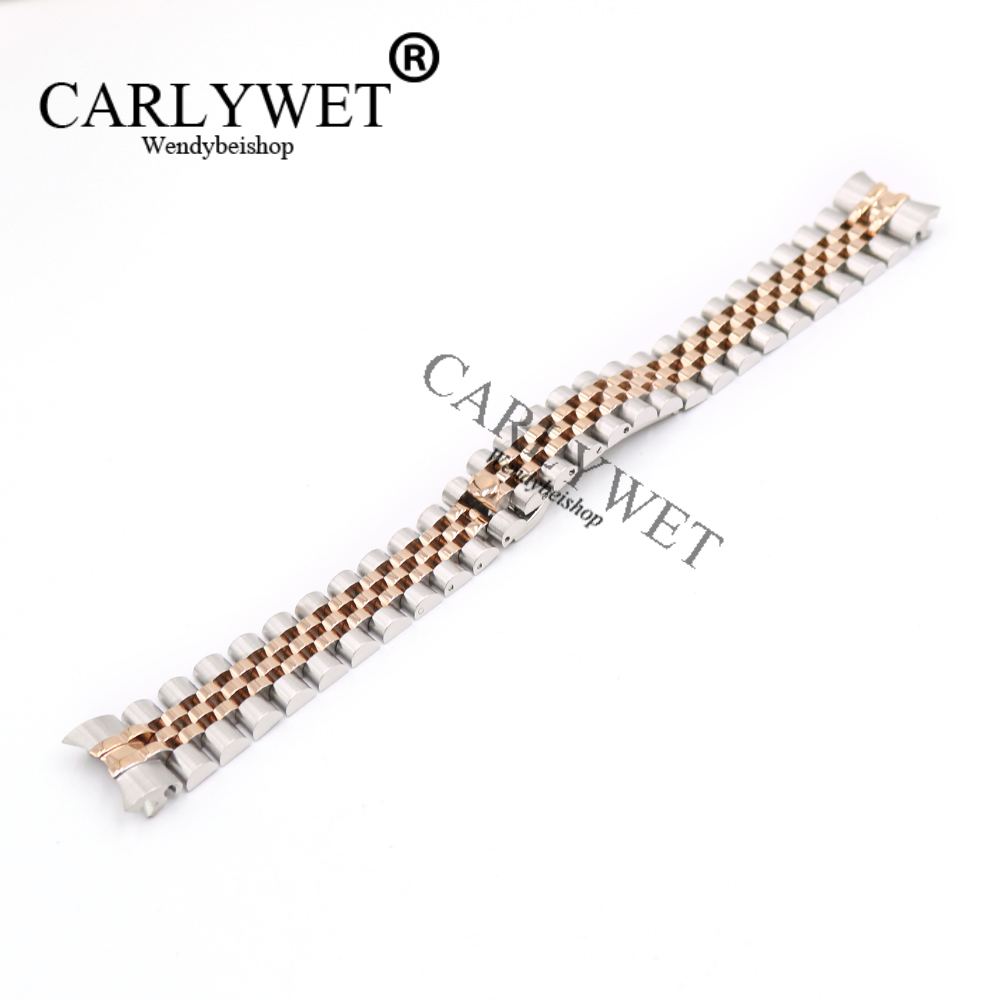 CARLYWET 20mm Wholesale Stainless Steel Jubilee Two Tone Rose Gold Solid Screw Links Wrist Watch Strap Bracelet With Curved End stylish 8 led blue light digit stainless steel bracelet wrist watch black 1 cr2016