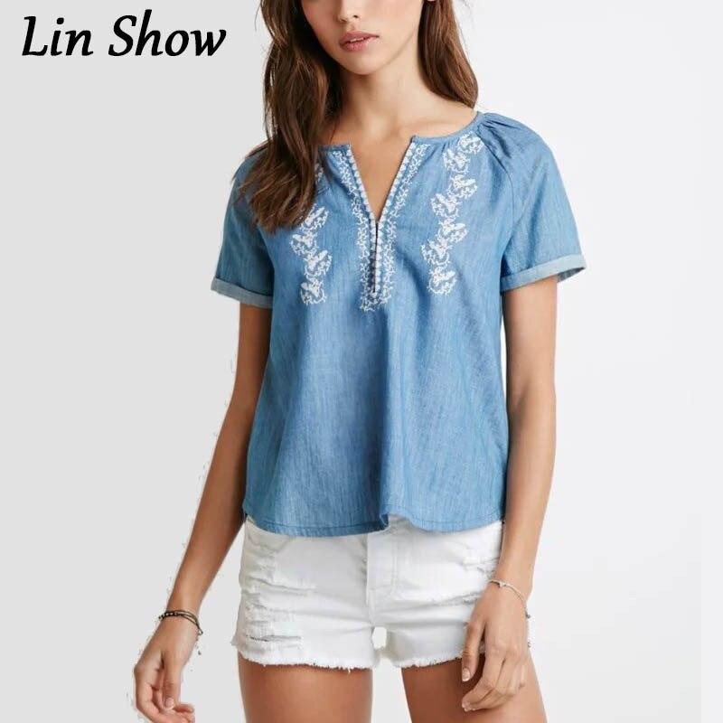 Popular women short sleeve denim shirt buy cheap women for Buy denim shirts online