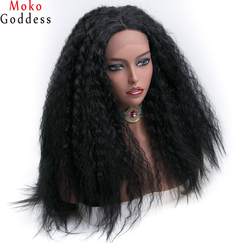 16-24 Inches Fluffy Long Brazilian Curly Ladies Afro Women Black Lace Front Wig