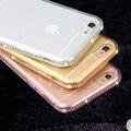 Para o caso iphone 5 5s se 6 6 s plus silicone casos claros transparente diamante suave tpu cobrir accesorries strass