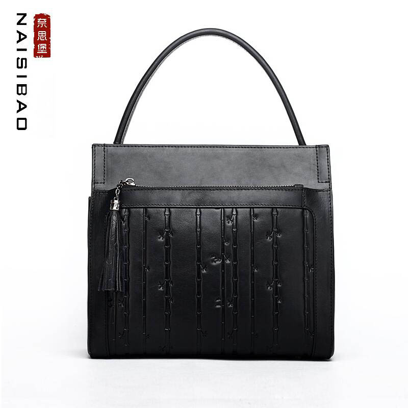 NAISIBAO high quality fashion luxury brand bucket bag 2019 new wide shoulder strap original Chinese style embossed shoulder portNAISIBAO high quality fashion luxury brand bucket bag 2019 new wide shoulder strap original Chinese style embossed shoulder port