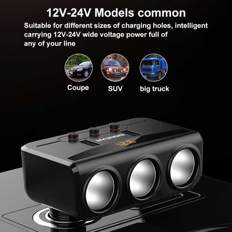 12V-24V Car Cigarette Lighter Socket Splitter Plug LED USB Charger Adapter 1A+2.1A 100W Voltage Detection For Phone MP3 DVR Pad