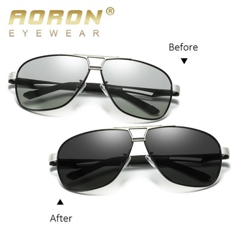 AORON Photochromic Sunglasses Men Pilot Driving Polarized Sun Glasses Chameleon Driver Safety Night Vision Goggles UV400