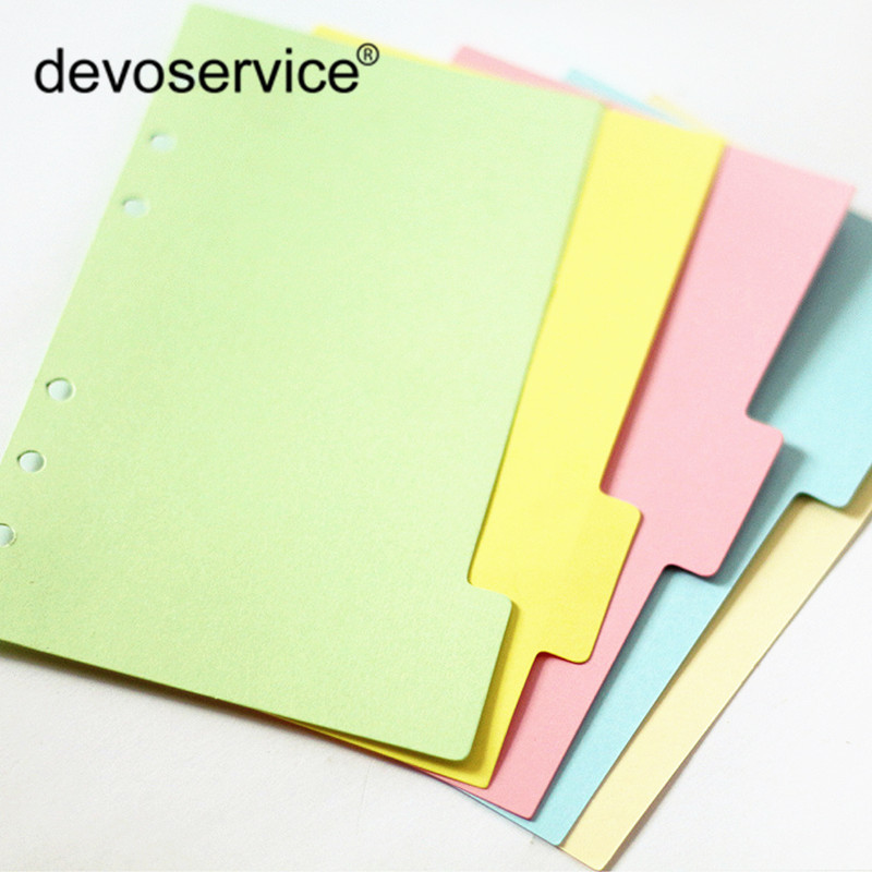 5Pcs/Lot Cute A5 Colorful Index Page Kawaii Standard 6-Hole Notebook Slip Sheet Paper Bookmark School Office Binding Supplies