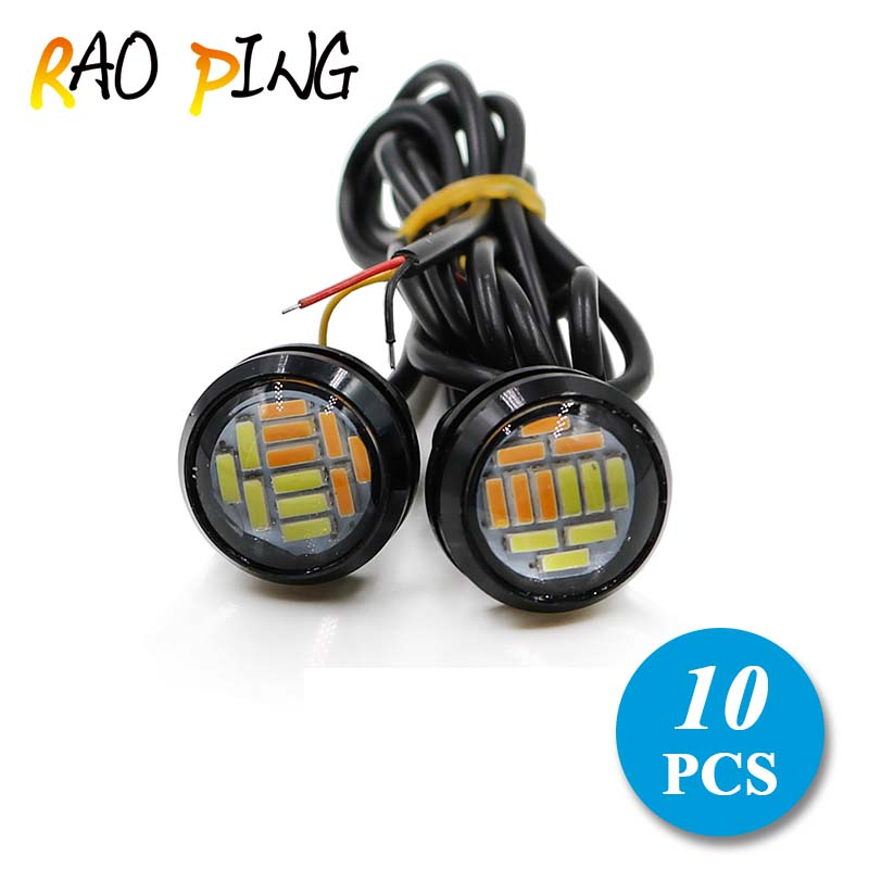 Raoping 10PCS Light Source Car Motorcycle Eagle Eye Led Lights DRL Daytime Running Light Tail Backup Light Parking Lamp 12V 23mm 2015new arrival eagle eye 3 smd led daytime running light 20pcs lot 10w 12v 5730 car light source waterproof parking tail light