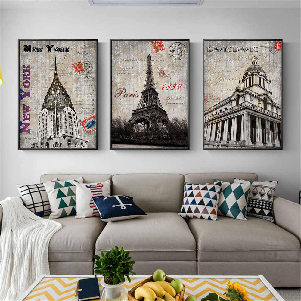 New York London Stamp Vintage Poster Black White Paris Canvas Painting Wall Art Retro Wall Pictures for Living Room Decoracion