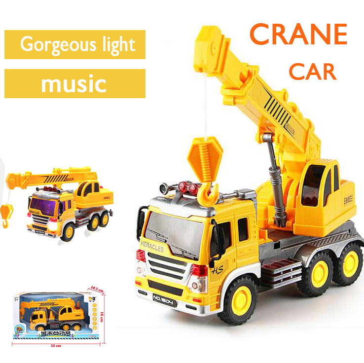1 : 22 ABS crane automotive With music lights Sliding building crane truck mannequin Toys Engineering autos