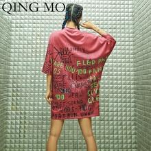 QING MO Women Red Letter Print T Shirt Dress Women Casual O-Neck Dress Women Above Knee Mini Dress 2019 Summer ZQY914