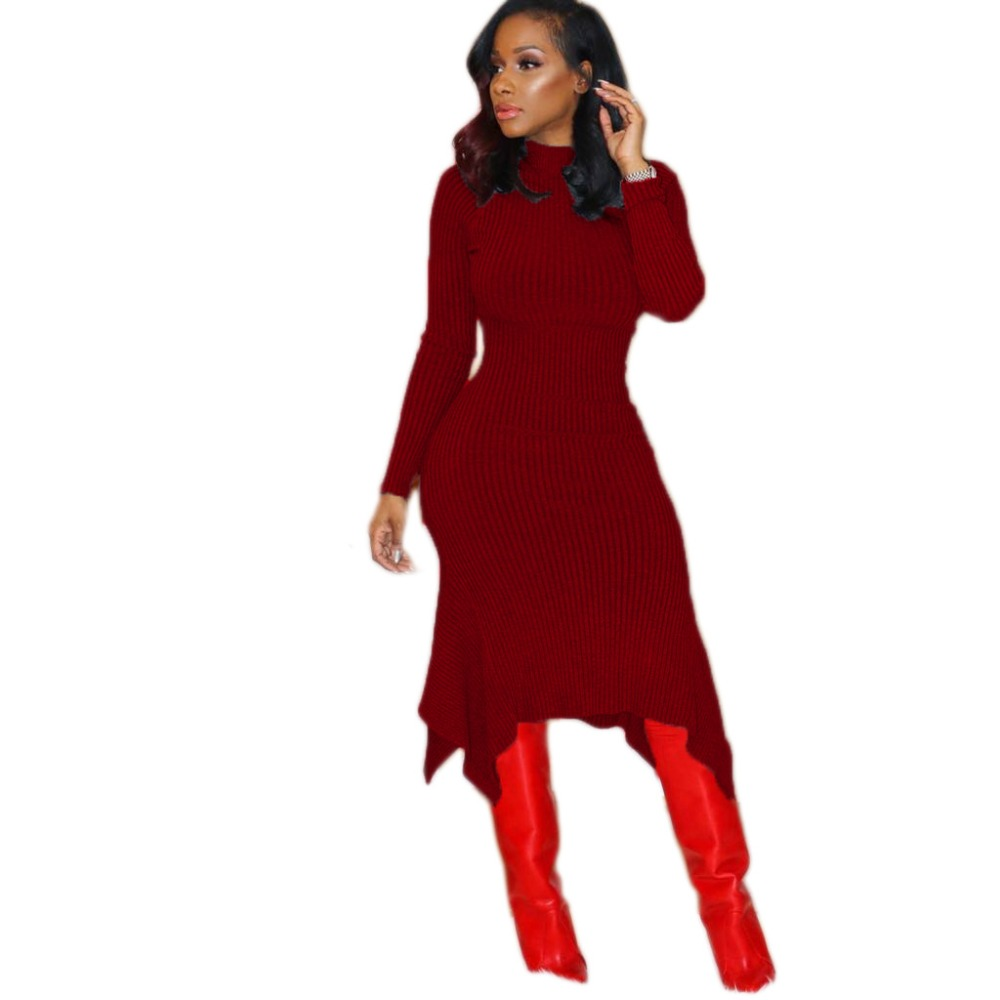 97e26808b93 Autumn Winter Knitted Sweater Dress Long Sleeve Ribbed Irregular Hem Gray  Wine Red Green Black Sexy Slim Bodycon dresses Women