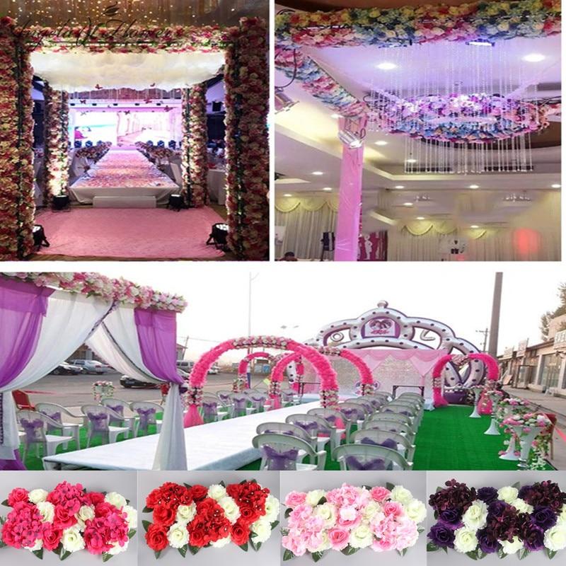 1 set artificial flower row diy silk flower wedding arch for Diy hotel decor