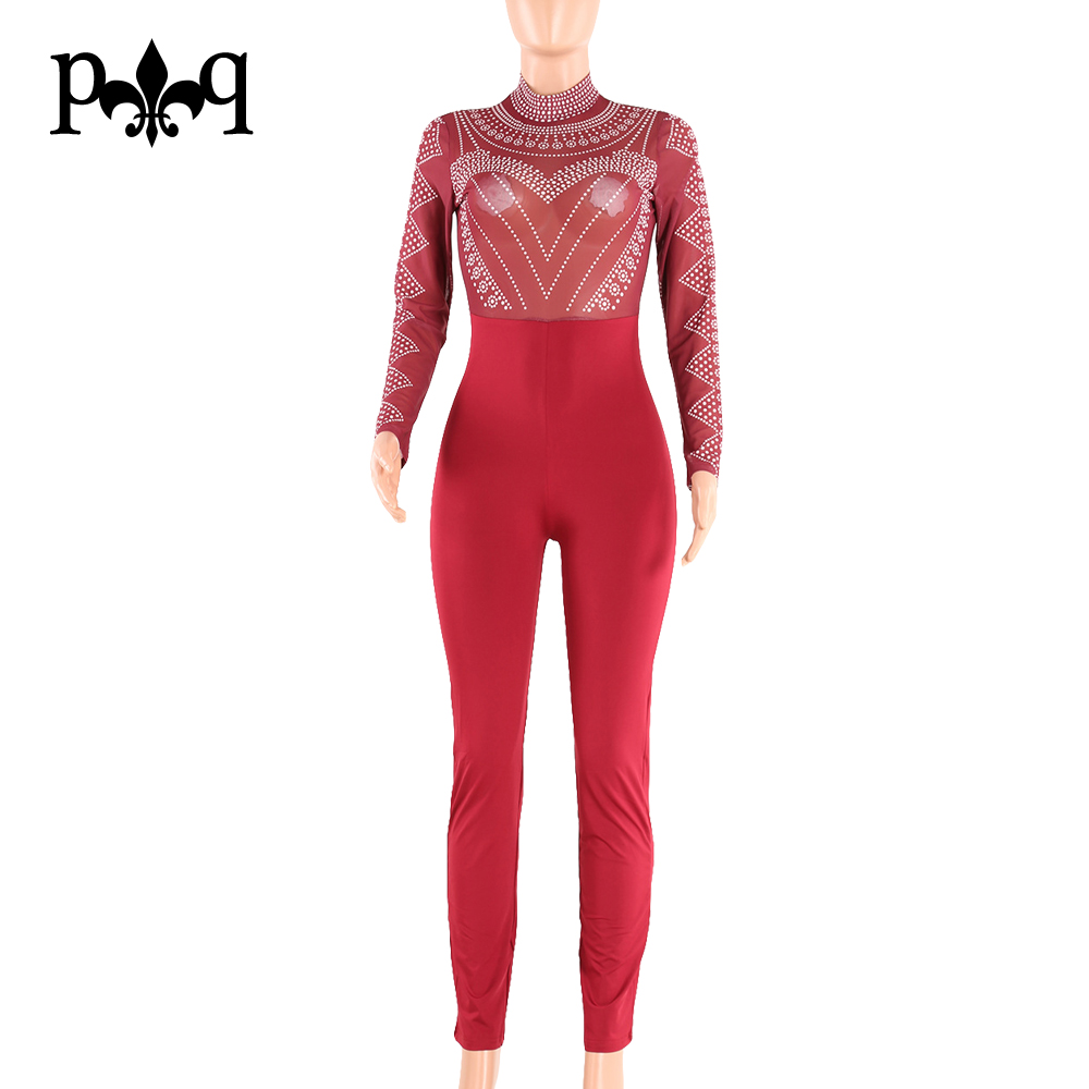 8d5e9395078a Sexy Bodycon Bandage Jumpsuit Women Overalls Long Sleeve Mesh Bodysuit  Black Turtleneck Jumpsuits Vintage Printed Women Rompers-in Jumpsuits from  Women s ...