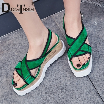 DORATASIA New Arrival 2019 Kid Suede Buckle Strap Summer Shoes Woman Sandals Female Platform Wedge Heels Sandals Woman Shoes