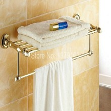 Bathroom Accessory Luxury Golden Gold Color Brass Wall Mounted Bathroom Towel Rail Holder Storage Rack Shelf Bar aba101