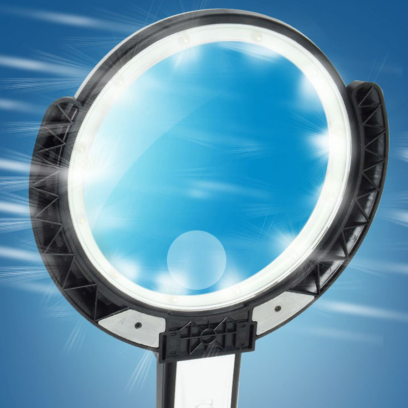 5 11X Magnifying Glass with Light 8 LED LAMP New Magnifier Foldable Stand Table