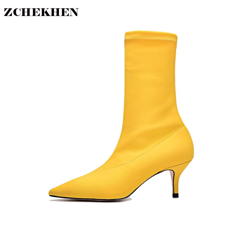 Yellow Women Sock Boots Stretch Fabric Pointed Toe High Heels Slip On Ankle Boots Women Pumps Stiletto Botas Mujer slip on winter boots stretch lycra