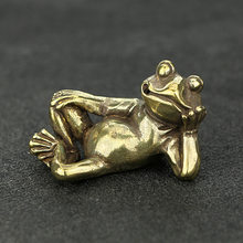 Mini Cute Vintage Brass Frogs Statue Decoration Ornament Sculpture Sleeping Thinking Frog Home Office Desk Ornament Toy Gift(China)
