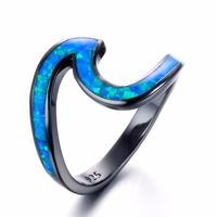 Lagerhope Unique White Blue Fire Opal Wave Ring Top Quality Black Gold Filled Wedding Rings For