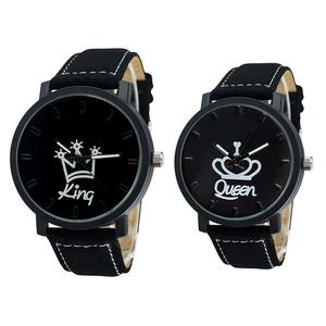 Fashion Couple Watches Queen King Crown Fuax Leather Quartz Analog Men and Women Wrist Watch Chronograph Valentine Gift