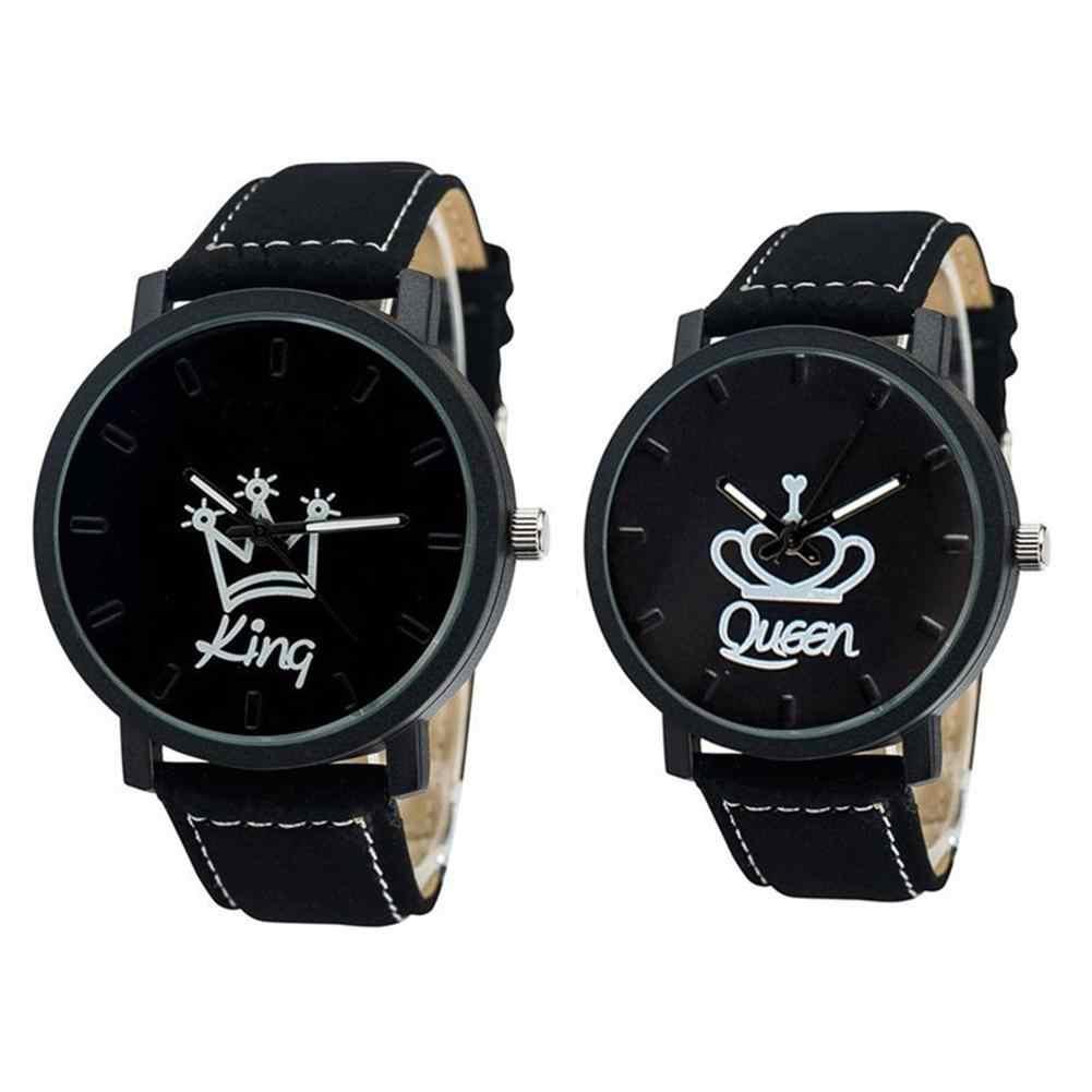 זוג אופנה שעונים מלכת מלך כתר Fuax עור קוורץ אנלוגי גברים נשים שעון יד הכרונוגרף ולנטיין מתנה