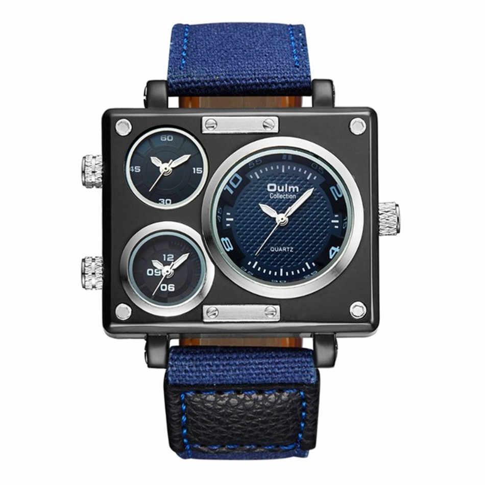 2018 جديد وصول تصميم الأزياء oulm ماركة أصلية قماش واسعة النطاق rectangel وجه كبير عارضة الكوارتز ساعات للرجال montre أوم