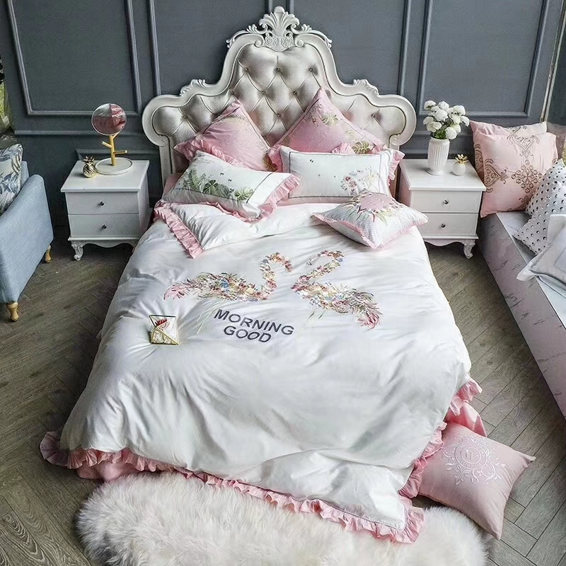 Ms.O 100% Cotton High Quality Embroidered Pink Flamingo Bird Ruffle Princess Duvet Cover Set Upgrade Leaf Luxurious Bedding Set