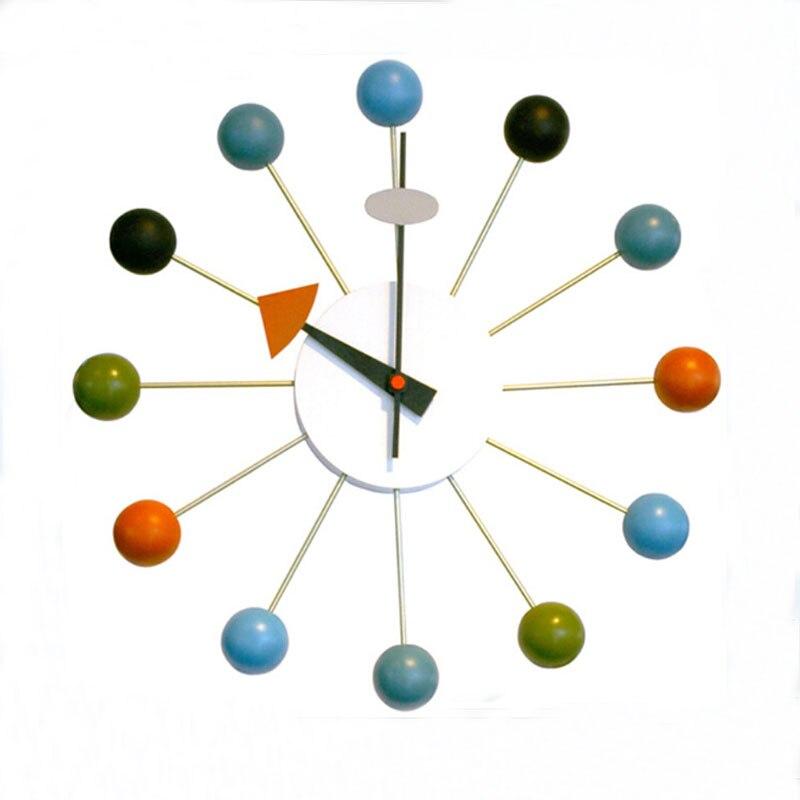 14 дюймов древесины мяч часы кварцевые настенные часы